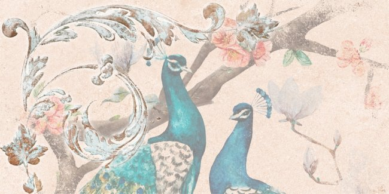 Global Tile (Pavana) GT103VG Декор керамический Pavana Светло-бежевый 50*25 птицы 1