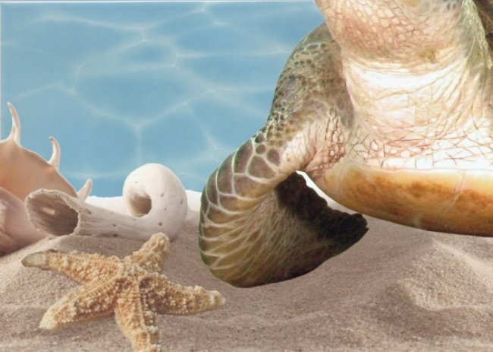 Березакерамика (Лазурь) Декор Панно Морской мир 11 бирюзовый 25*35
