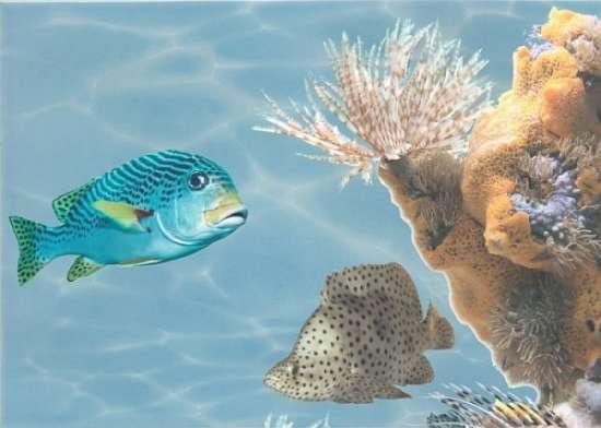 Березакерамика (Лазурь) Декор Панно Морской мир 5 бирюзовый 25*35