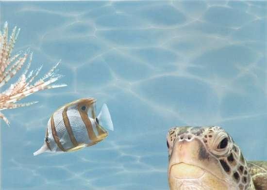 Березакерамика (Лазурь) Декор Панно Морской мир 7 бирюзовый 25*35