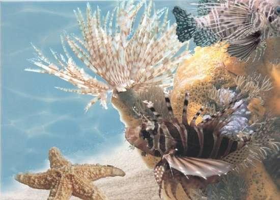 Березакерамика (Лазурь) Декор Панно Морской мир 9 бирюзовый 25*35