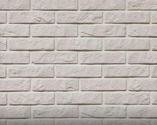 Камолов Декоративный камень, гипс Дикий кирпич белый 210х54х10 В упаковке 0,79