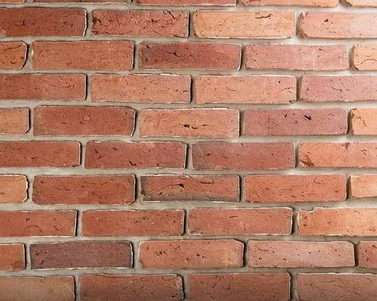Камолов Декоративный камень, бетон Старинный кирпич Бордо 260х65х23 В упаковке 0,41