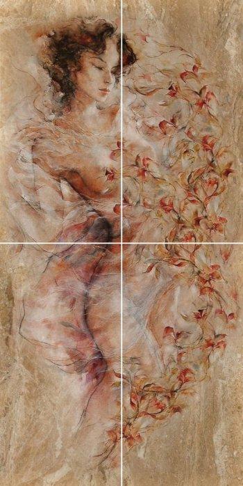 Березакерамика  Флоренция коричневый панно 25*50 (4шт)
