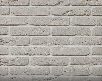 Камолов Декоративный камень, гипс Старый кирпич белый 280х63х10 В упаковке 0,84
