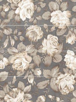 LВ-ceramics (Fiori Grigio) Декор Фиори Гриджо Цветы панно из 4-х плиток 1608-0116  80*60